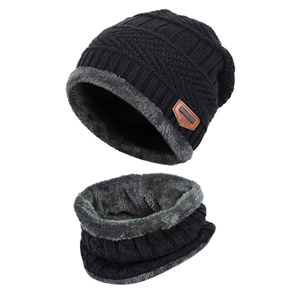 043668ec8e5ca Knitted Hat Scarf Caps Neck Warmer Winter Hats For Men Women Skullies  Beanies Warm Fleece Cap