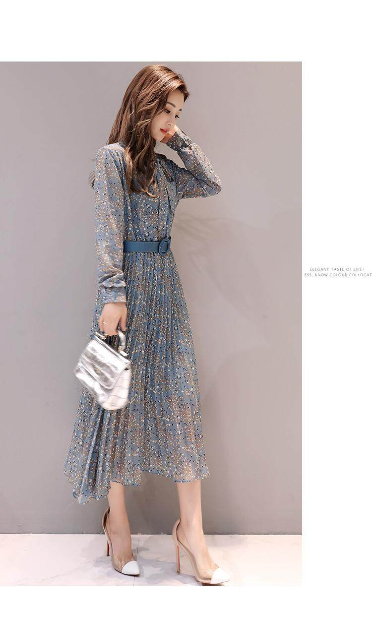 a48cb07a63f1 Specifications of CHENWEN Vintage Chiffon Floral Midi Dress 2018 Spring  Summer Korean Elegant Women Party Long Sleeve Dress Maxi Boho Dresses  Pleated Skirt ...