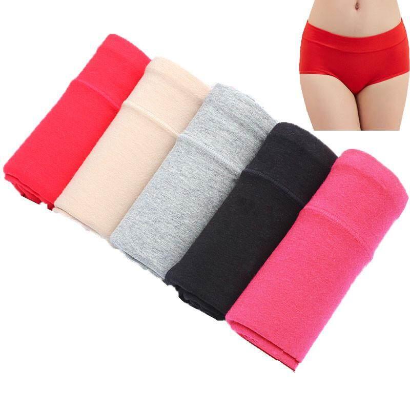 49cb5afca4e7 40-90kg 5pcs Womens Soft Cotton Mid Waist Brief Panties Stretch Maxi Ladies  Female Panty
