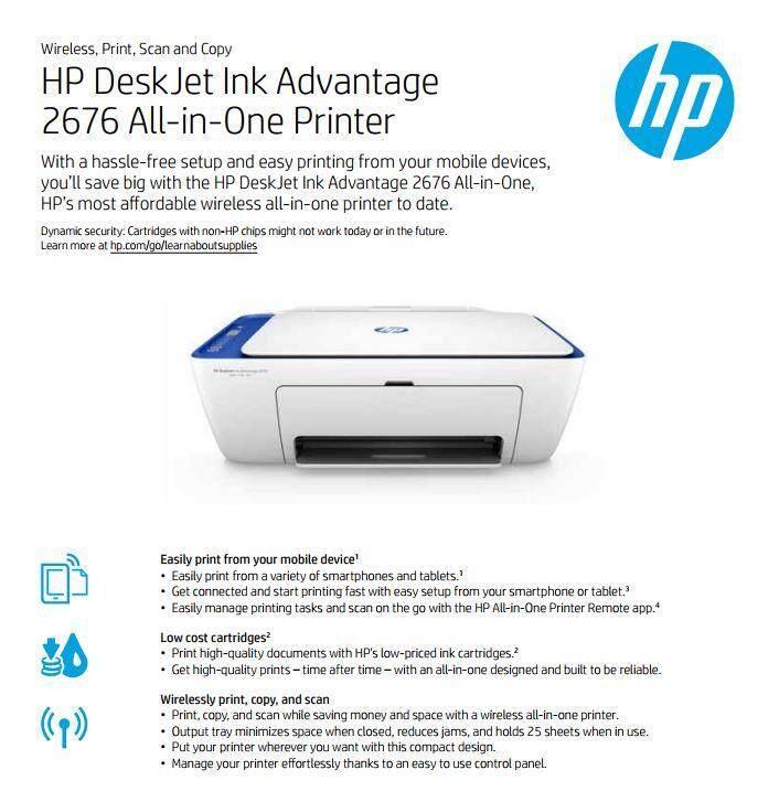 HP DeskJet Ink Advantage 2676 (INK INCLUDED)