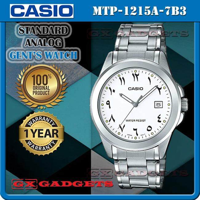 CASIO MTP-1215A-7B3 STANDARD Analog Mens Watch Date Stainless Steel Band WR MTP-1215 1215A Series Malaysia