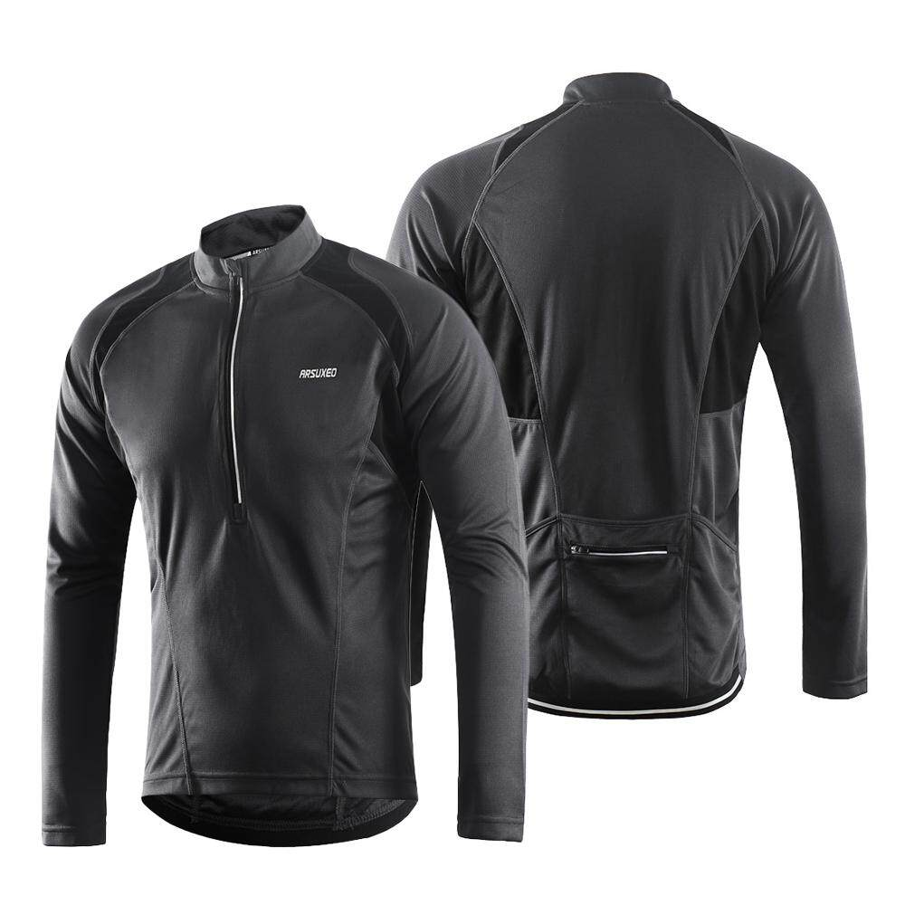73c59d2ee40 Arsuxeo Men s Long Sleeve Cycling Jersey Lightweight Breathable Quick Dry  Bike Riding Shirt