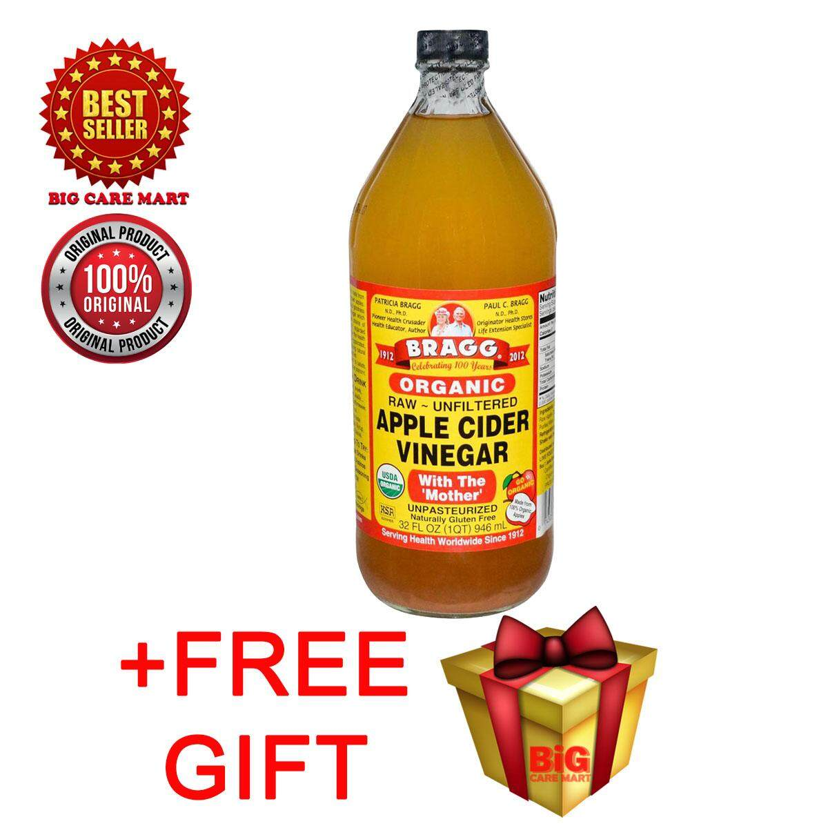 Bragg Organic Apple Cider Vinegar 946ml + Free Gift By Big Care Mart.