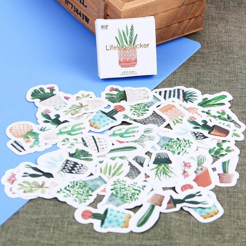 45pcs/set Kawaii Green Plants Cactus Decoration Stationery Stickers Diy Diary Planner Label Stickers Student Supplies By New360.