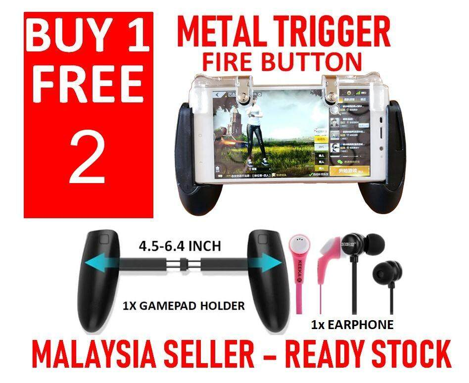 [ Ready Stock & Upgrade Gamepad Holder ] Buy 1 Free 2 Metal Trigger Pubg Firing & Aiming Joystick Controller Mobile Smartphone For Pubg Fps Stg Tps Games Last Battle Ground, Survivor Royale, Free Fire [no More Undetect Miss Fire And Sensitive Issue] By Pusat Komputer Libra.