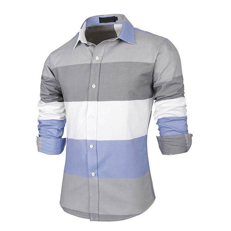 New Fashion Irregular Pattern Hit Color Stripe Long Sleeve Cotton Slim Fit  Casual Male Shirt Clothes d416d163a72e