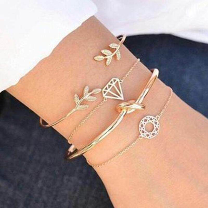 Bzy 4pcs/set Exquisite Simple Gold Opening Bracelet Set Vintage Leaf Knot Bangle Bracelets Women Jewelry Accessories Gift By Beautyzy.