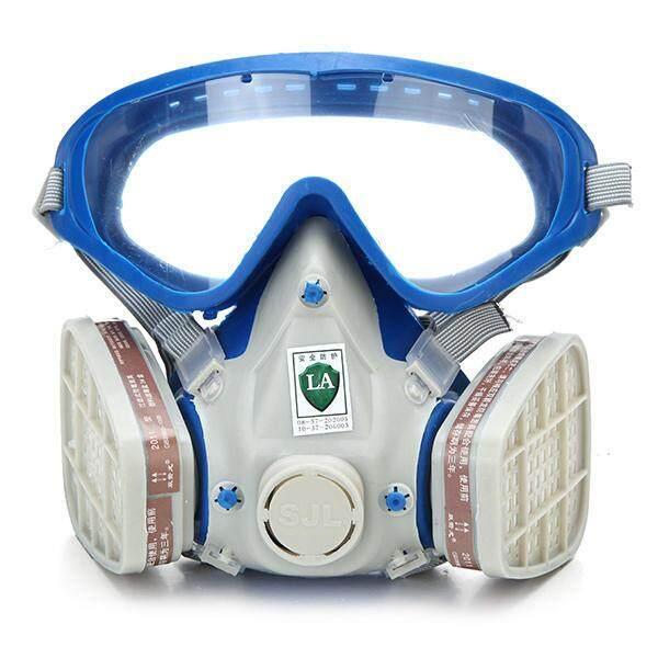 Silicone Full Face Respirator Gas Mask & Goggles Comprehensive Cover Paint Chemical Pesticide Mask Dustproof Fire Escape COD