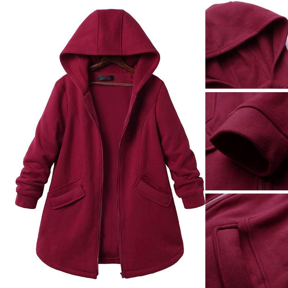 e01eab71435 Yhystore Women s Plus Size Long Sleeve Casual Pure Color Hooded Pockets  Coats Outweat