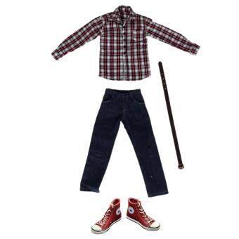 ... BolehDeals 1 6 Scale Red Plaid Long Sleeve Shirt Jeans Belt Clothing Set Lace