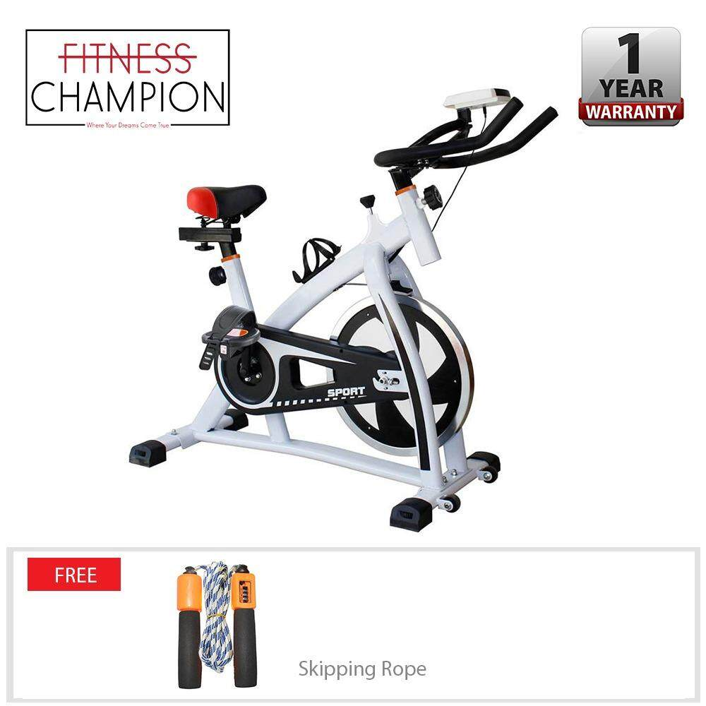 Fitchamp : In-Door Exercise Pro Workout Bike - White With Free Radler Skipping Rope By Fitness Champion.