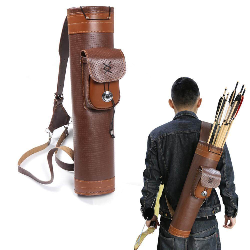 Traditional Genuine Leather Back Arrow Quiver Hunting Pouch Shoulder Belt Bag By Freebang.