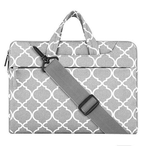 Mosiso Quatrefoil Style Canvas Fabric Laptop Sleeve Case Cover Bag with Shoulder Strap for 13-13.3 Inch MacBook Pro, MacBook Air, Notebook Computer, Gray Malaysia