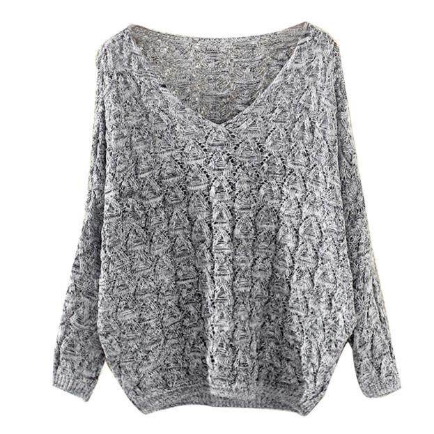 Aiipstore Womens Hollow Out Bat Long Sleeve Loose V Collar Sweater By Aiipstore.