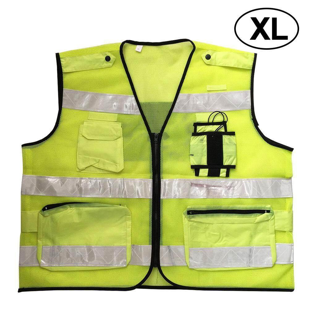 OrzBuy Fluorescent Vest Road Construction Multi-pocket Sanitation Vest Reflective Vest