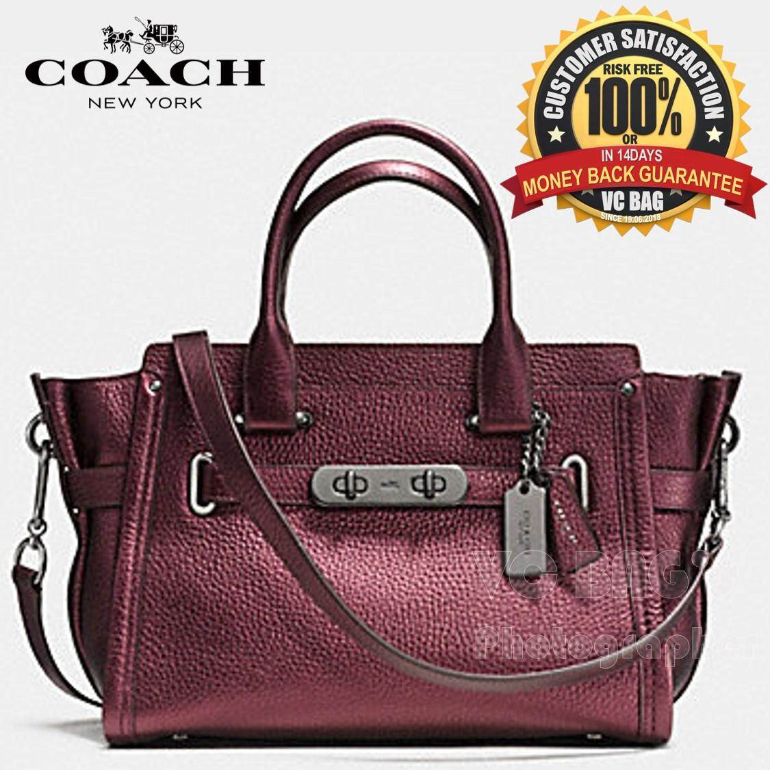 Coach F36497 Swagger 27 In Metallic Pebble Leather Black Antique Nickel Cherry