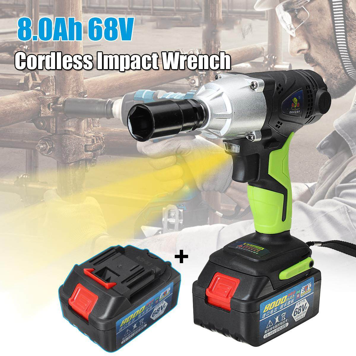 68V Cordless Impact Wrench 1/2 420Nm Metal Chuck with 8000mAh Li-ion Battery EU Plug