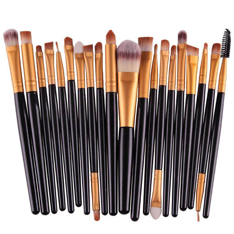 20 Pcs Make Up Brush Set Black Gold By Glamhouse.