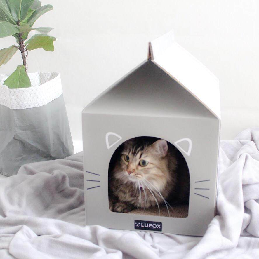 Lufox Meow Box - Cat House With Scratch Pads (stripy Grey) By Lufox - The Pet Company.
