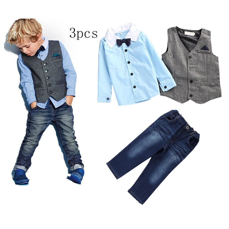 5e53fed425 Summer Gentleman Baby Boy Clothing Set Butterfly Bow-Tie Waistcoat T shirt  + Trousers 2pcs Kids Suit Small Children's Sets free