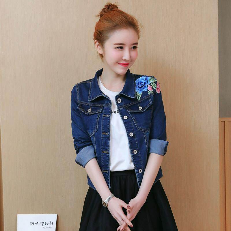 08321fb48a4 2018 Women Floral Embroidered Denim Jacket Short Style Jeans Coat Casual  Basic Coats Elastic Vintage Autumn