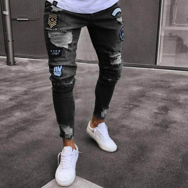 1b4c87ccf2f9d Wjkfgi Fashion Men Broken Hole Jeans European and American Style Long  Edition Small Feet Jeans