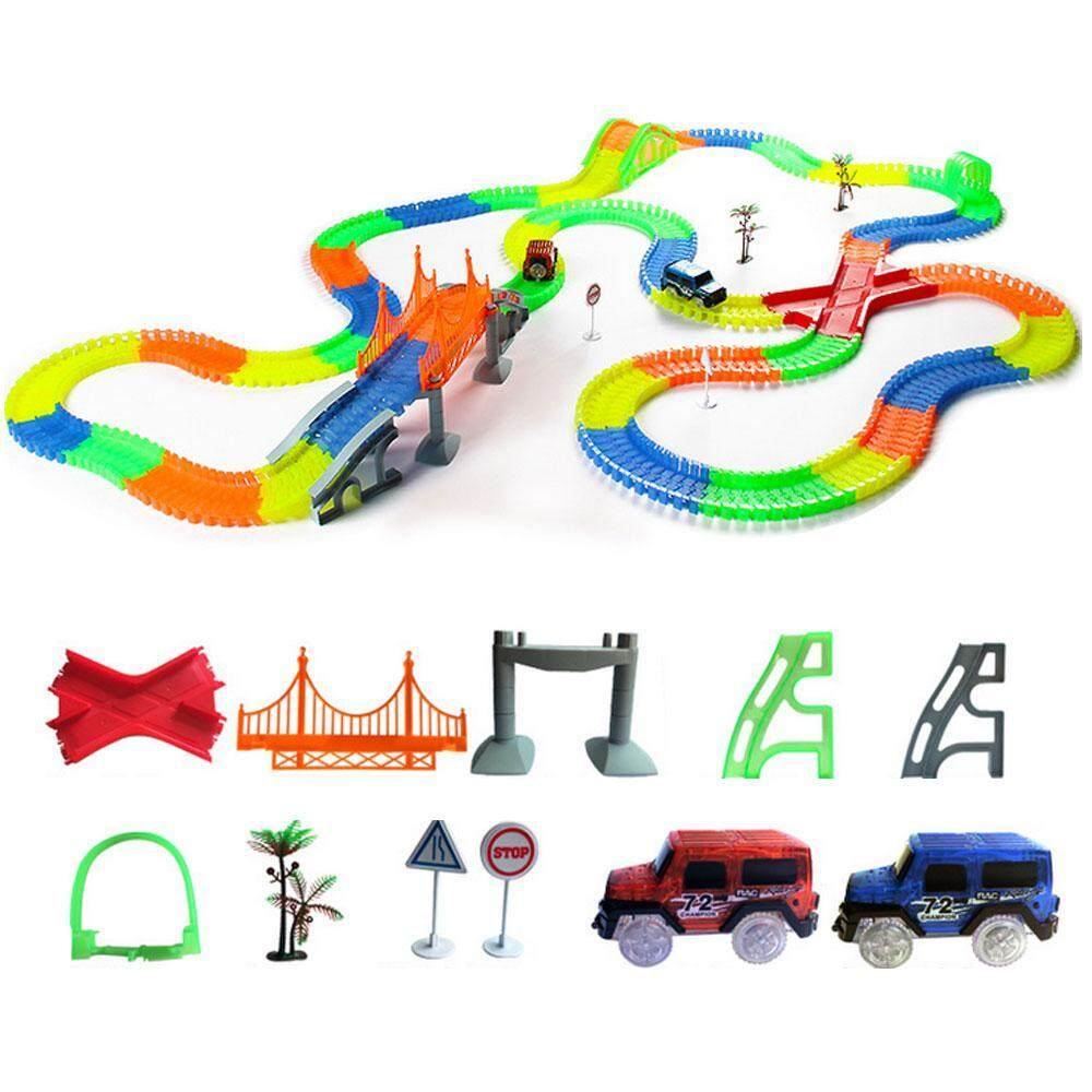 Goodscool Luxury Upgrades Magic Tracks Mega Set With 3 Led 2 Race Car And 18 Ft. Of Flexible, Bendable Glow In The Dark Racetrack, As Seen On Tv By Goodscool.