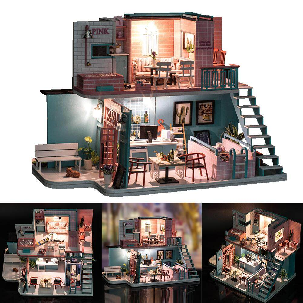 RYT Kids DIY Wooden LED Cottage Villa Doll House Pink Series-City of Sky Cafe Holiday Birthday Gift Puzzle Toy with Music
