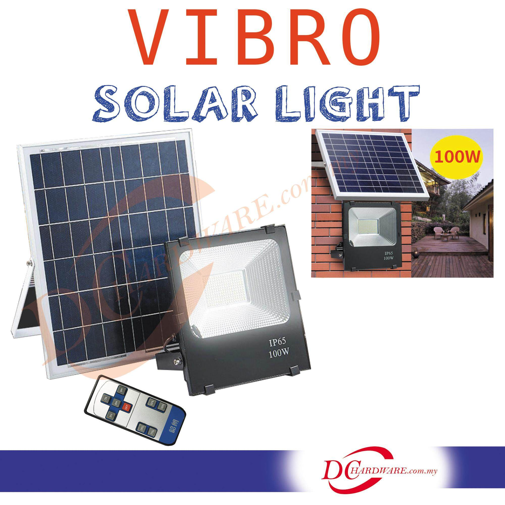 VIBRO 100W Solar Flood Lights Outdoor Waterprooof Super Bright LED with Remote Control (VIBRO-100LED)