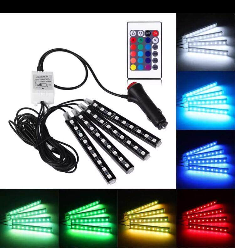 SafeTown Car LED Strip Light Multiple Colours 4 Pcs 36 LED DC 12V Car Interior Light Under Dash Lighting Kit with Wireless Remote Control, Car Charger Include