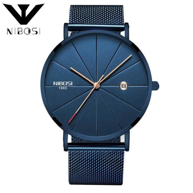 NIBOSI Fashion 2321 Ultra Thin Milanese Mesh Band Unisex Quartz Wristwatches (BlueBand-Blue) Malaysia