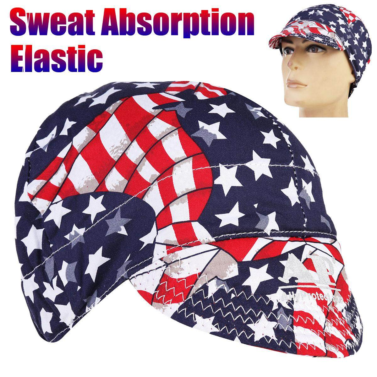 5pcs Universal Sweat Absorption Elastic Welding Welder Hat Cap Cotton Patriotic