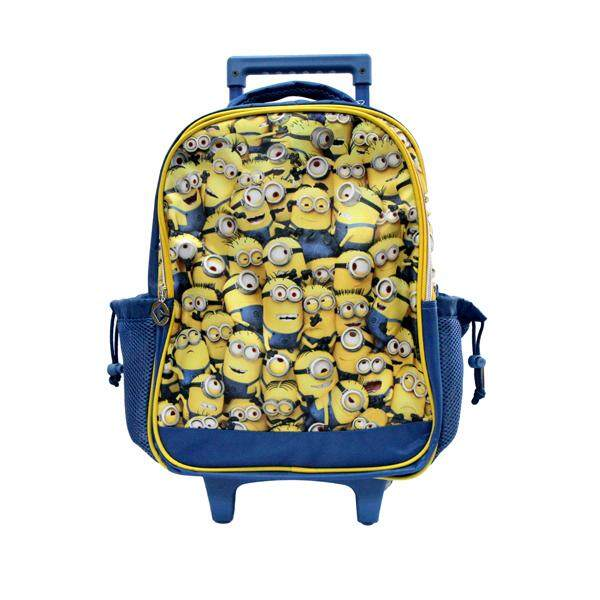 Kidztime X Minions Children Cartoon Character 16 Trolley Backpack School Bag For Boy-Waterproofed School Backpack-Lightweight Bags-Ergonomic Extra Padded Shoulder Straps-Ergonomic Back Support-Eco Friendly Material–yellow+ Preschool Name Card Slot By Kidztime.