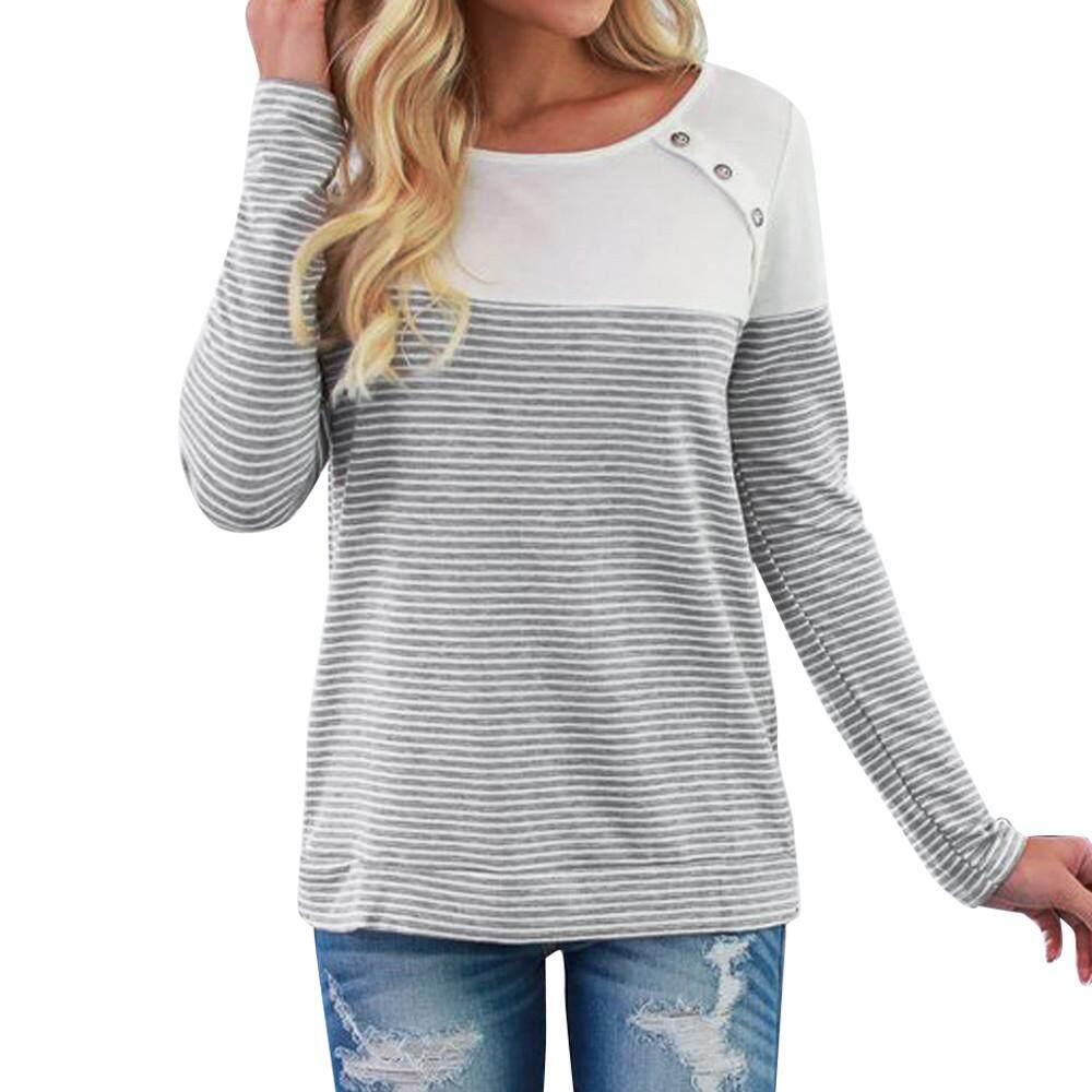 941e8ea5920 IDASIC Women Long Sleeve Triple Color Block Stripe T-shirt Casual Blouse