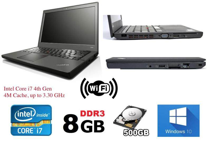 Refurbished Lenovo Thinkpad X240 Ultrabook (i7 4th Gen 2.1Ghz up to 3.30Ghz / 8GB RAM / 500GB HDD / Win7 COA / Win 10 Pro / Bag)  (3 Month Warranty for Laptop & 1 Month Warranty for Battery and Adaptor) Used Laptop Notebook Malaysia