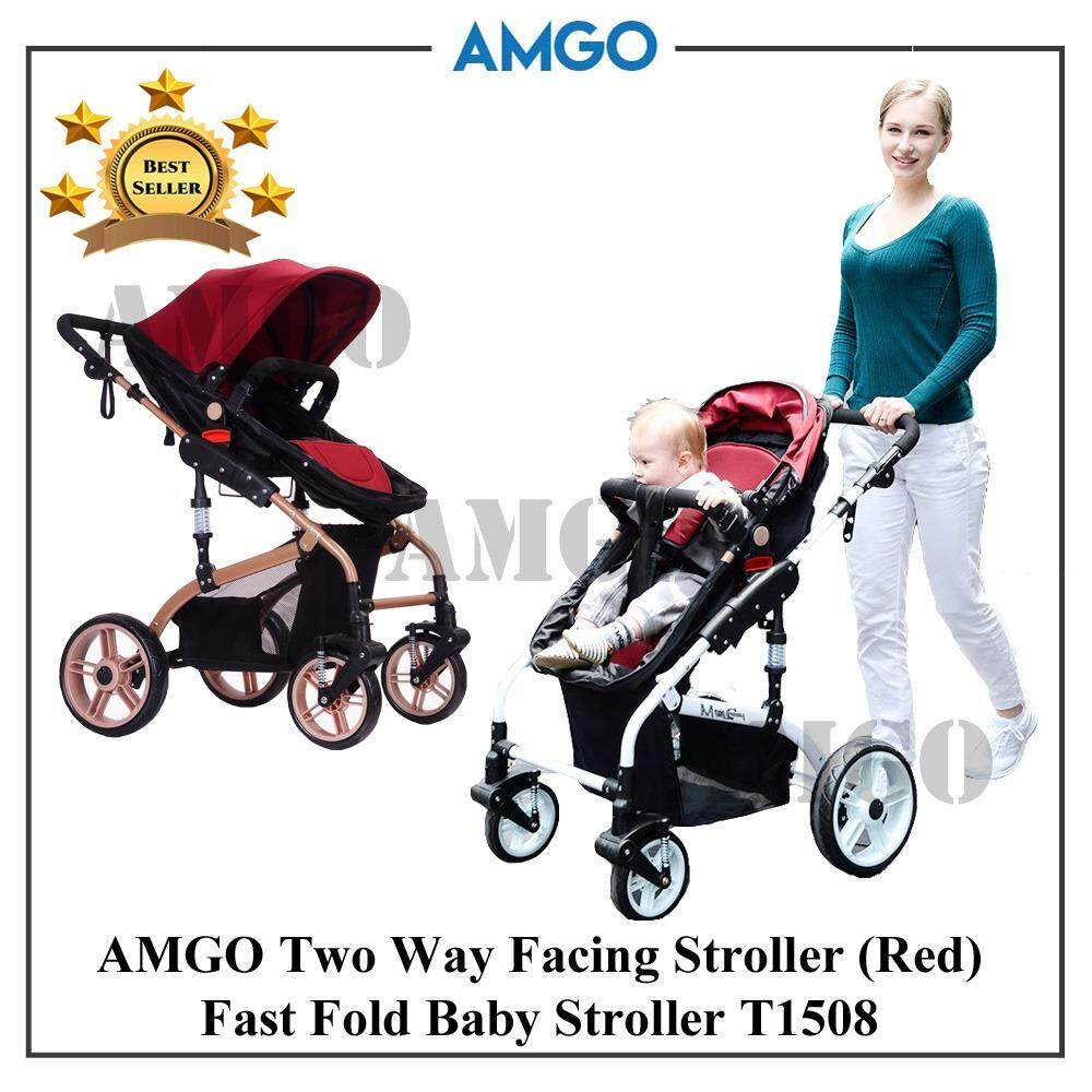 AMGO Luxurious Highest Class Detachable Bassinet Anti-Shock Baby Car T1508 Lightweight Folding Two-Way Four Wheels Baby Stroller JS [RED]