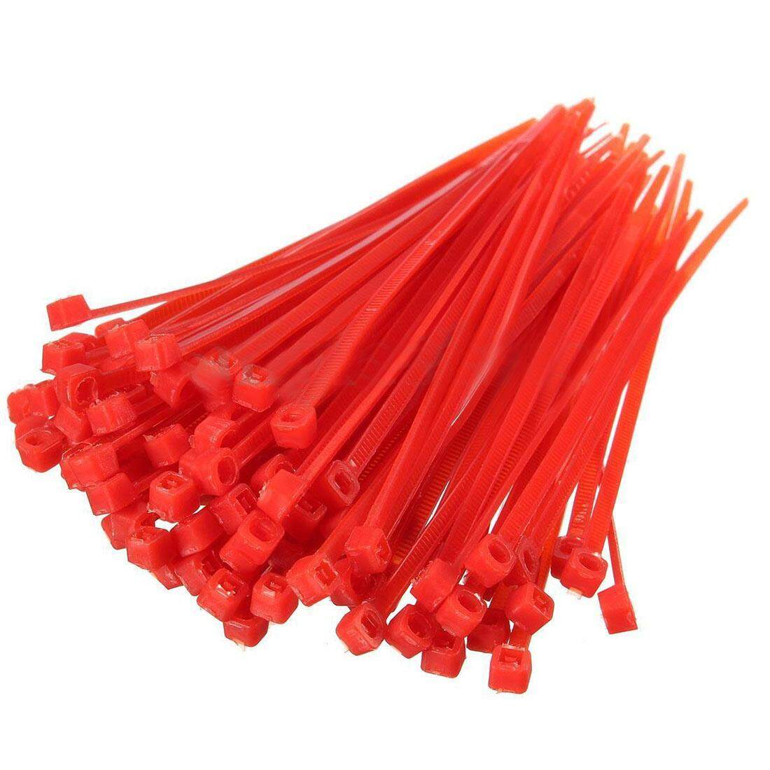 100X 2.5mmx100mm Nylon Cable Wire Zip Ties Cord Wrap Strap Color:Red