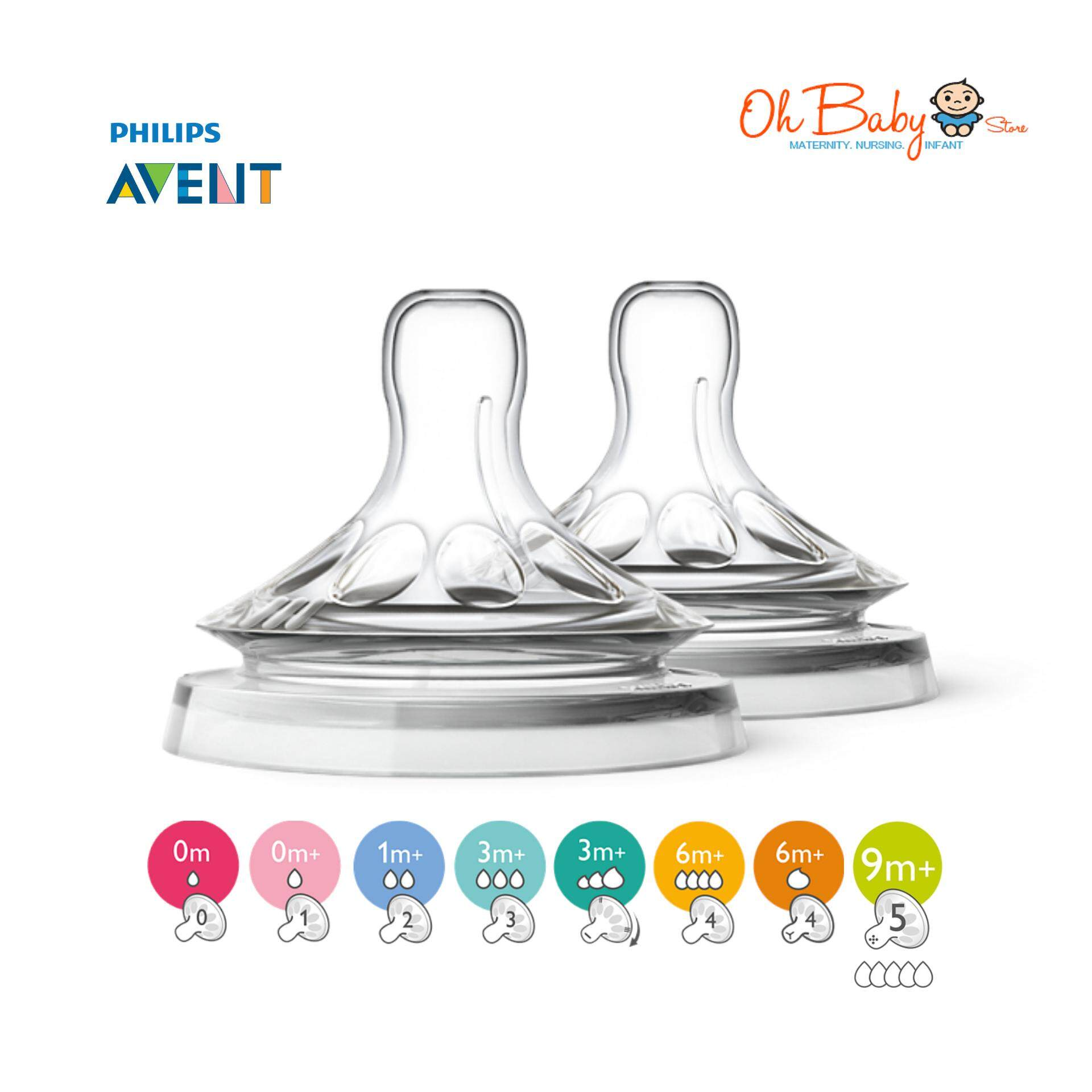 Avent - Natural Teats 0m Up To 9m+ (2pcs) By Oh Baby Store.