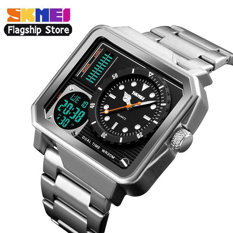 SKMEI New Men Sports Waches Fashion Waterproof Watch Dual Display Large Dial Stainless Steel Digital Wristwatches Male Clock 1392 Malaysia