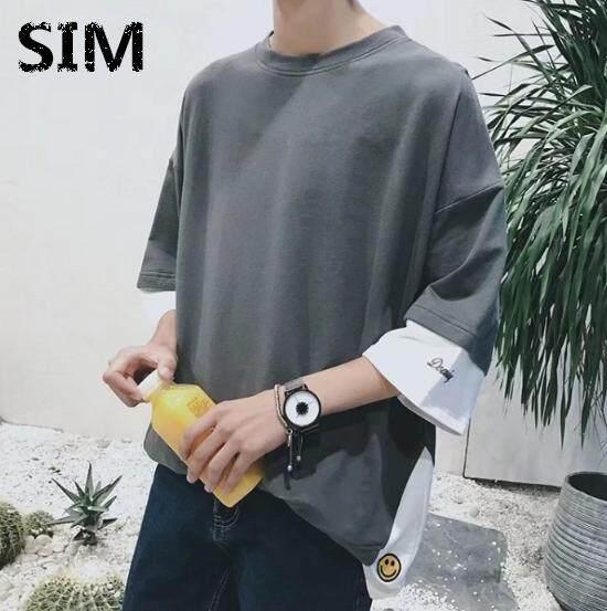 00ab9f5fa8dc SIM Korean Men s New T-shirt Fashion Stitching T-shirt Loose Top Smile Shirt