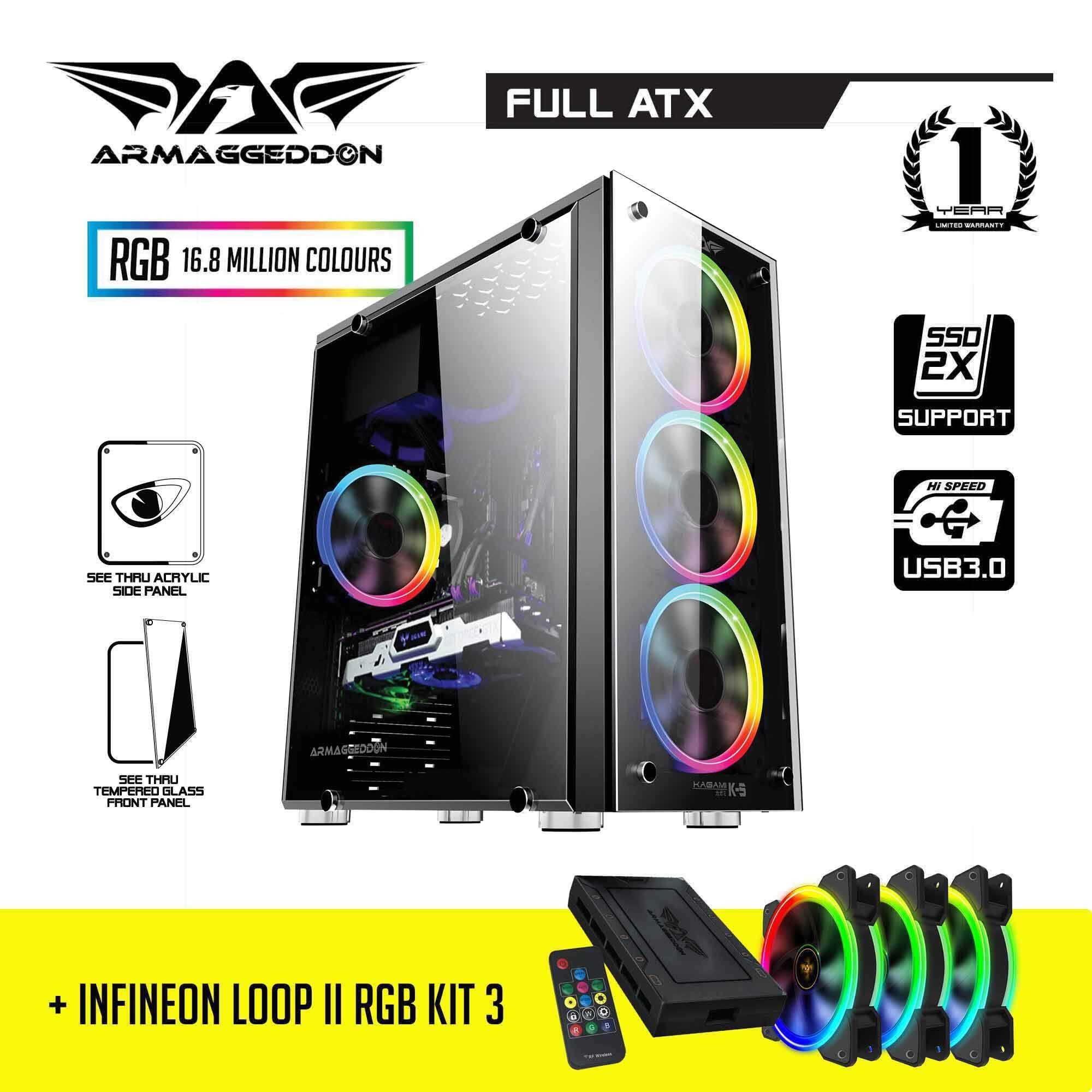 BUNDLE: Armaggeddon Kagami K5 Full ATX Gaming PC Case and Infineon Loop II Kit 3 RGB Fan and FX Controller Malaysia