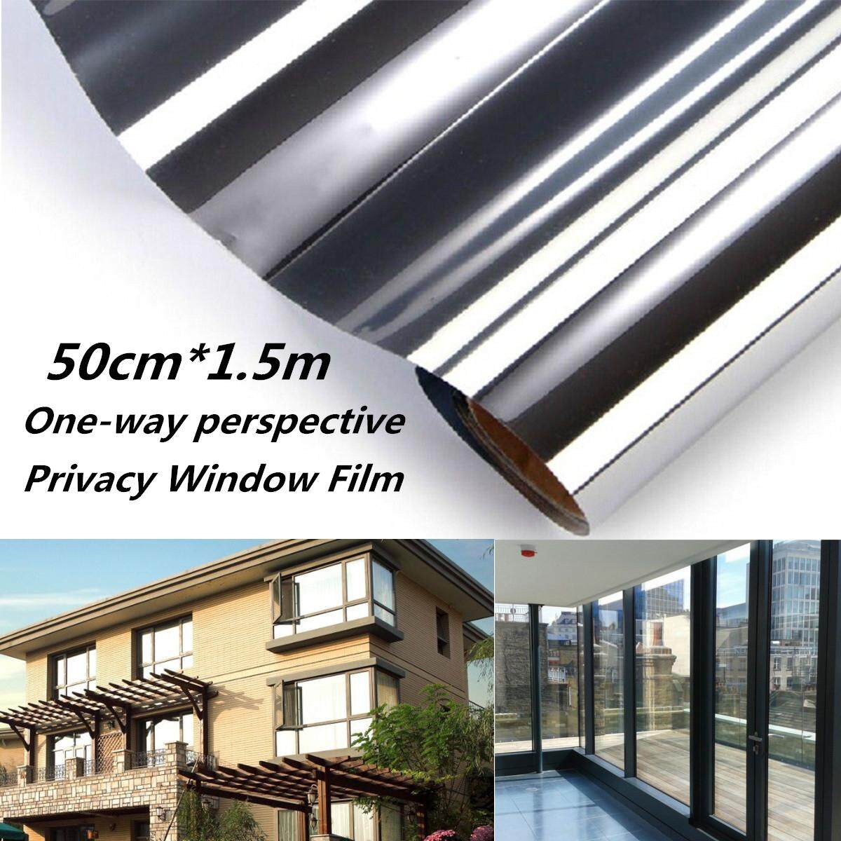 6pcs 50cm*1.5m Mirror One Way Silver Glass Window Film Static Cling Privacy Security Sticker By Freebang.