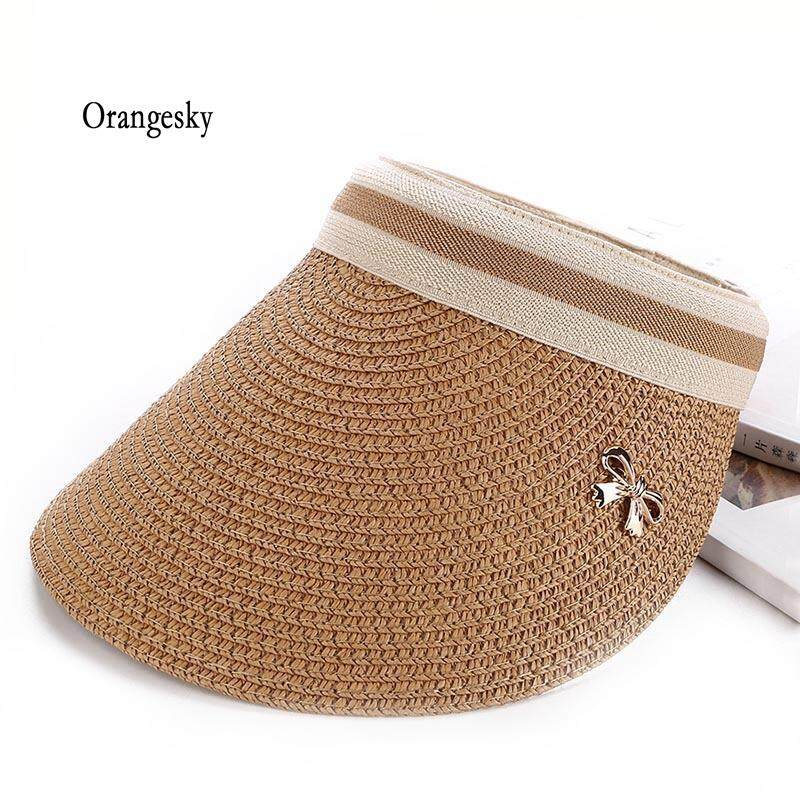 18914576854e1f Orangesky Women Sun Hats Wide Brim UV Protection Summer Beach Visor Straw  Cap Travel Supplies