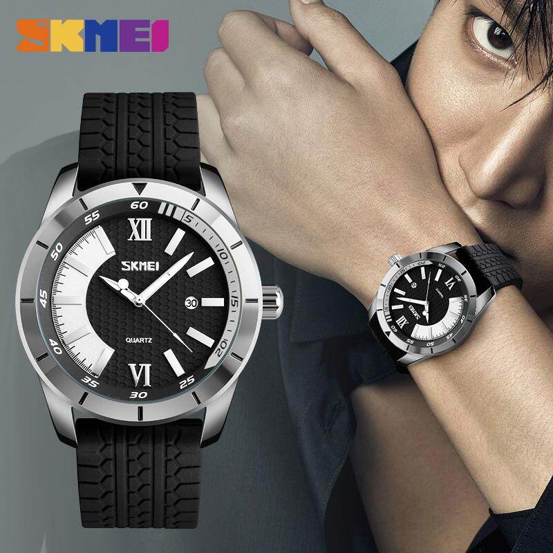 SKMEI Men Fashion Quartz Watches Sports Casual 30M Water Resistant Watch Date Silicone Strap Wristwatches 9151 Malaysia