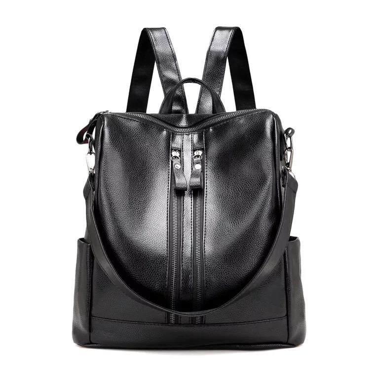 ac2a91e6ffbf Korean Style PU Leather Shoulder Backpack Women Bag (Black) handbag woman's