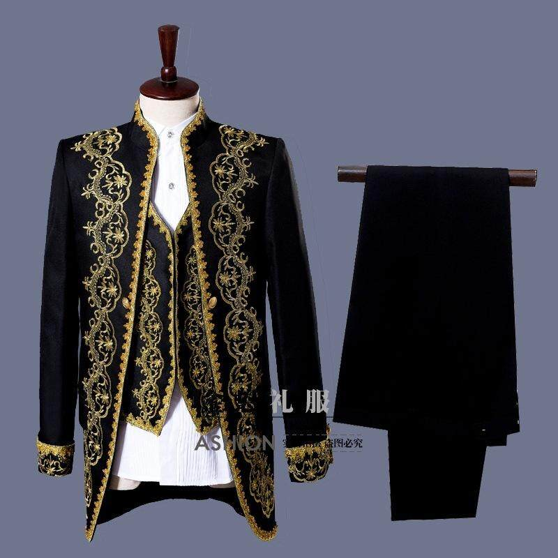 New Mens Clothing European Stage Gold Court Performance Costumes Mens Photo Studio Theme Dress Tuxedo Costumes(jacket + Vest + Pants) By Yangs House.