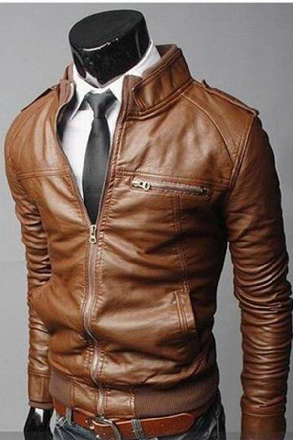 Silvershops Mens Leather Jacket Autumn Winter Men Leather Jacket Coats By Silver Shops.