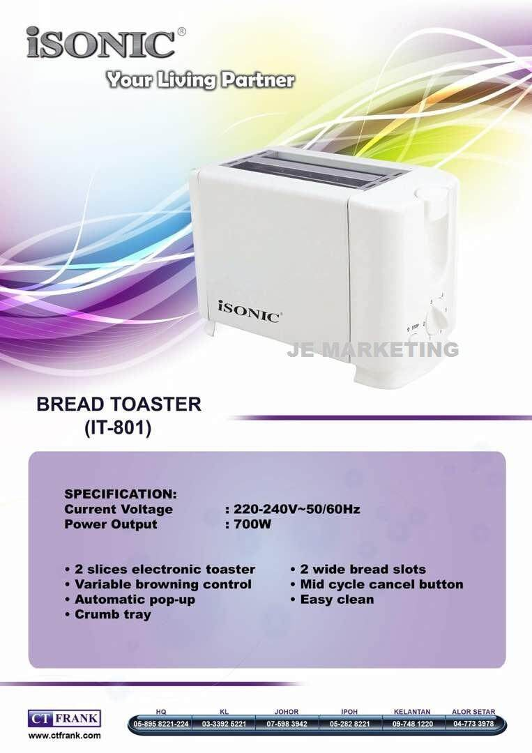 Isonic Bread Toaster It-801 By Je Marketing.