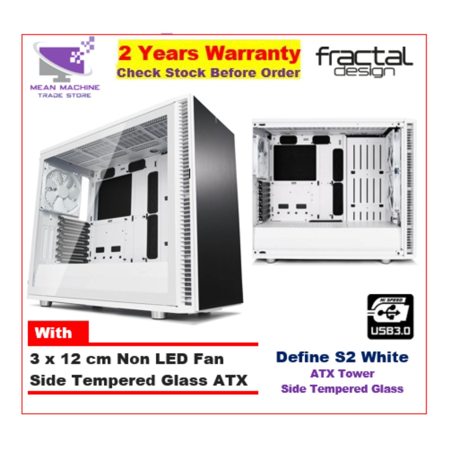 #Fractal Design Define S2 White TG ATX Chassis (With 3 X 12cm Fan) # Malaysia