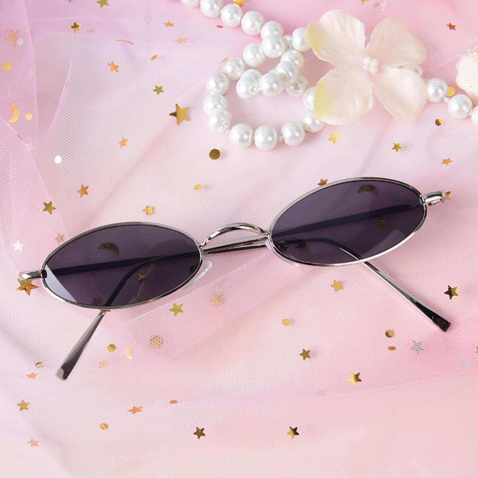 b4b6e021ee02 Vintage Small Oval Metal Frame Sunglasses Women'S Retro Shades Trendy  Glasses Silver & Grey